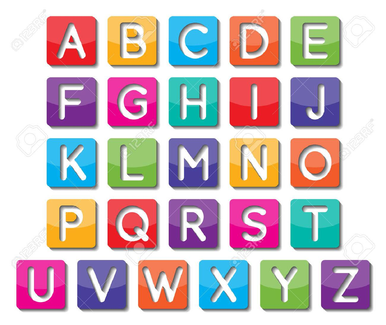set of colorful capital alphabets A to Z fonts