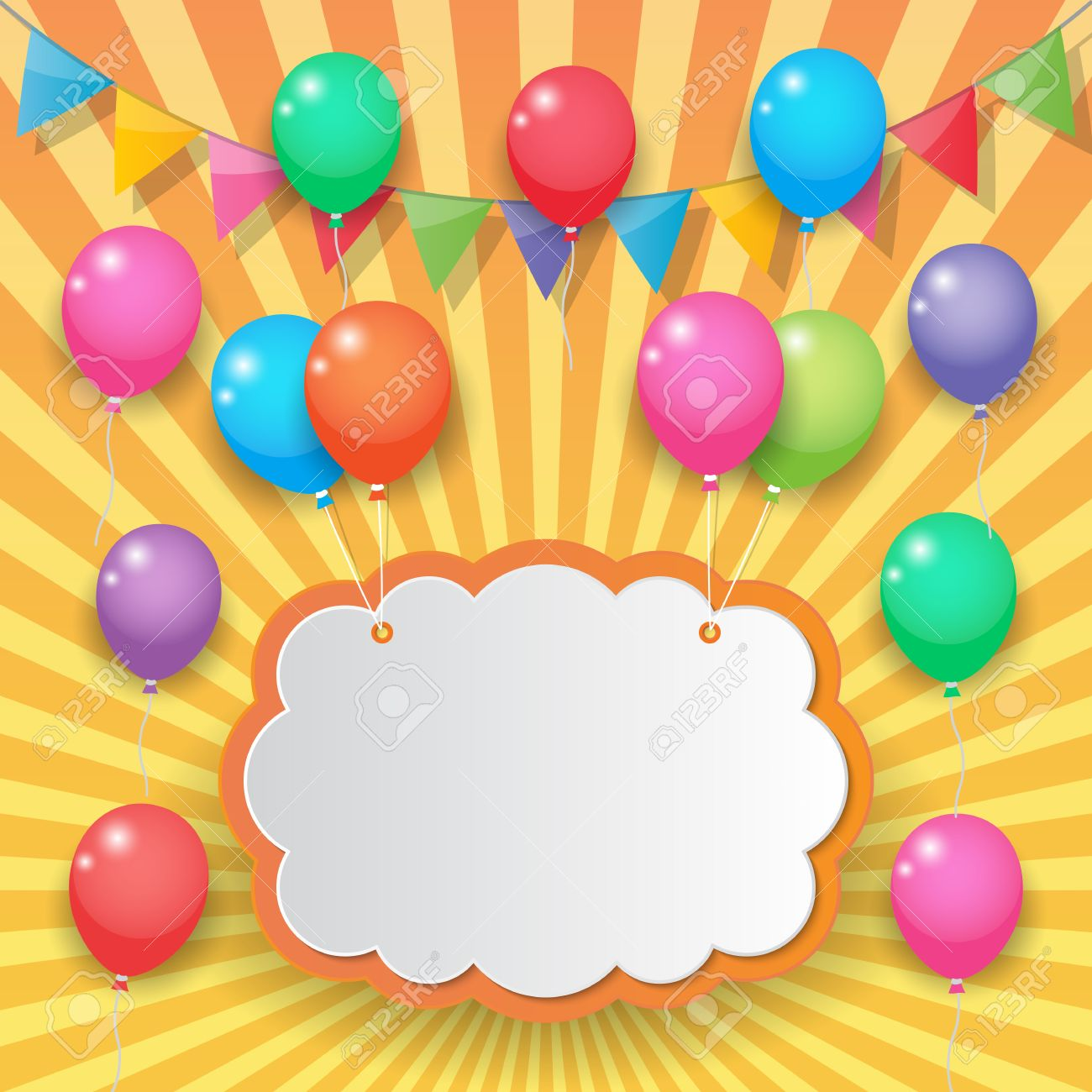 Balloons Cloud Bunting And Garland Decoration On Sunny Sky ...