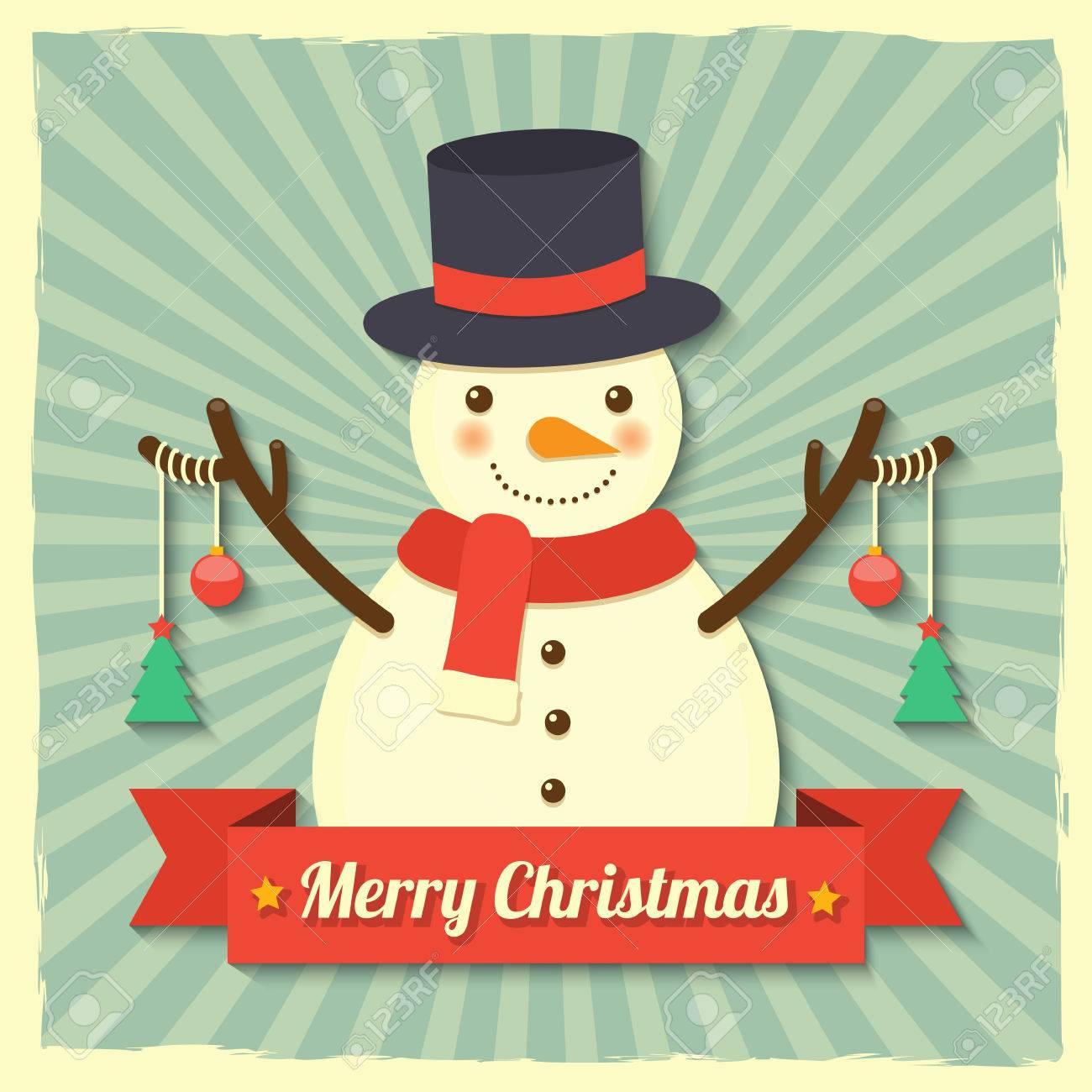 Schneemann Tragen Hut Und Schal Mit Weihnachtskugeln Und ...