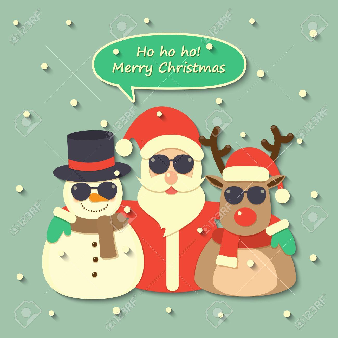 Weihnachtsmann, Rentier Und Schneemann Trägt Eine Sonnenbrille Mit ...