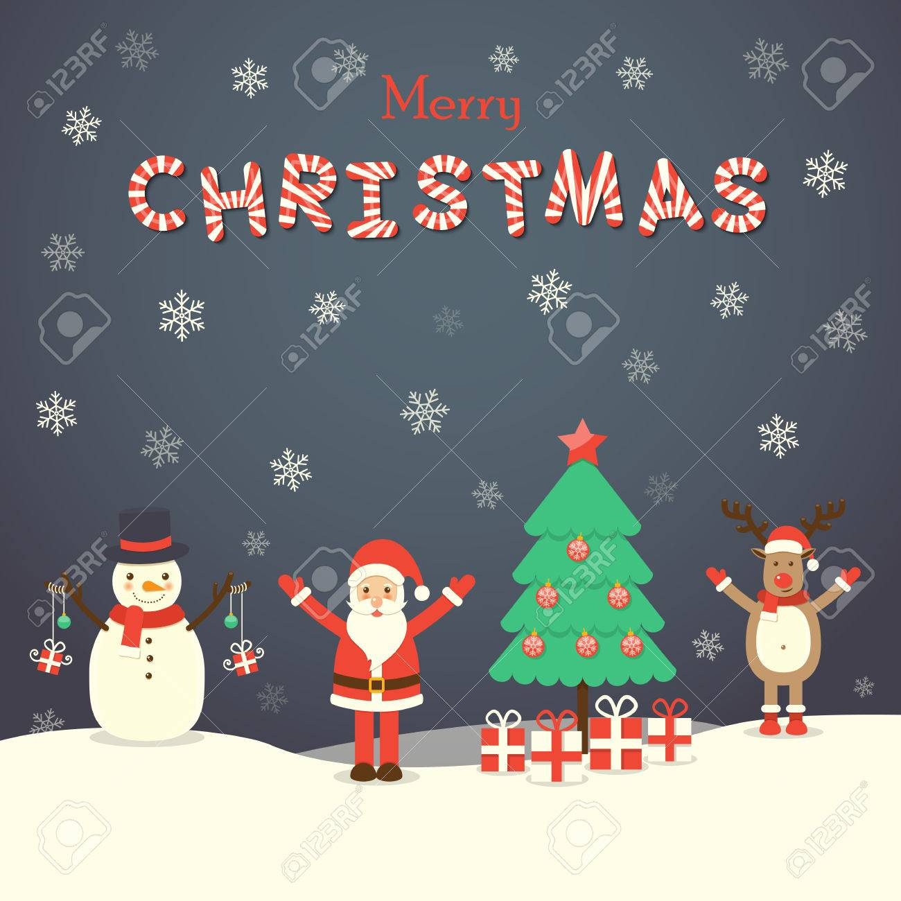 Santa Claus Snowman Reindeer And Christmas Tree On Snowing Royalty Free Cliparts Vectors And Stock Illustration Image 48781658