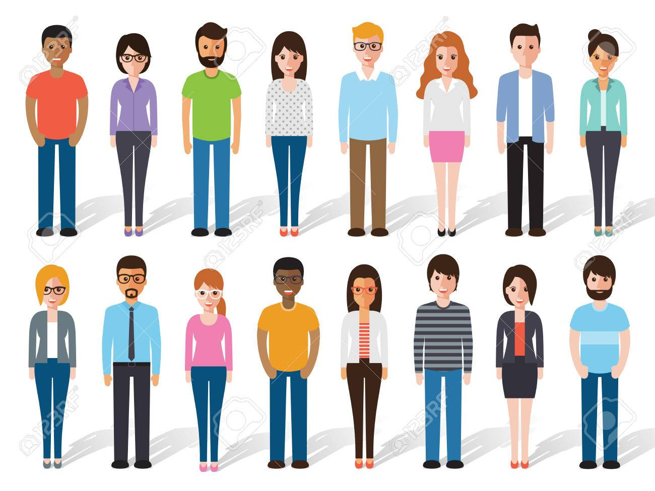 set of working people standing on white background. Flat design characters. - 53673822