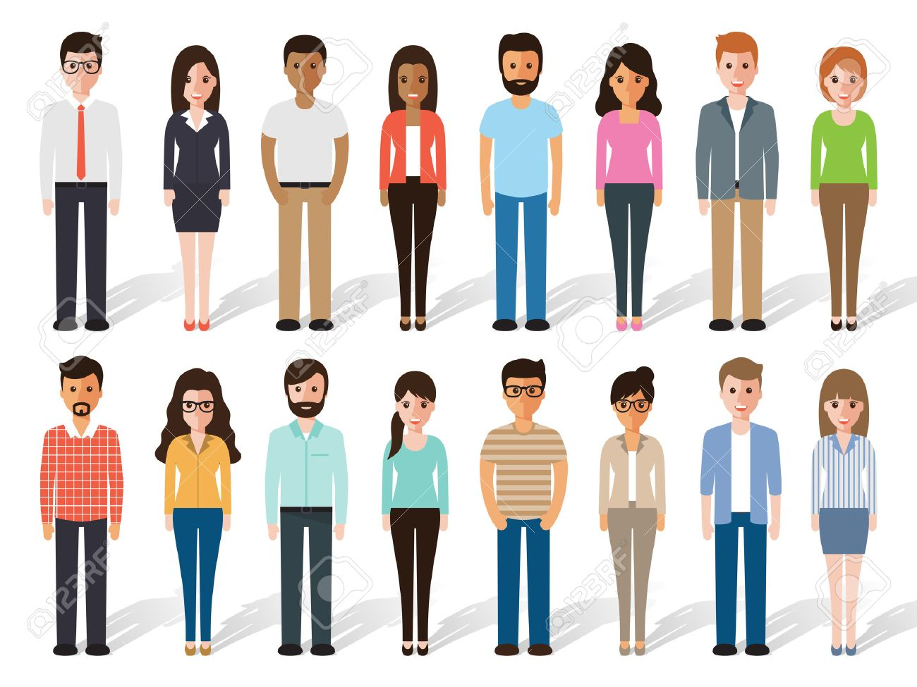 set of working people standing on white background. Flat design characters. - 53673824