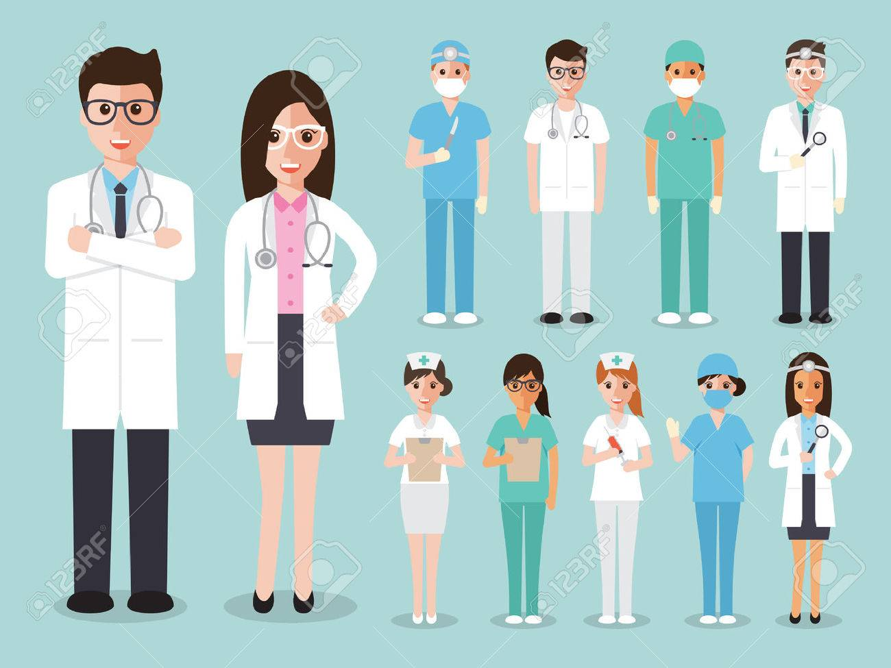 doctors and nurses and medical staffs flat design icon set - 54710924