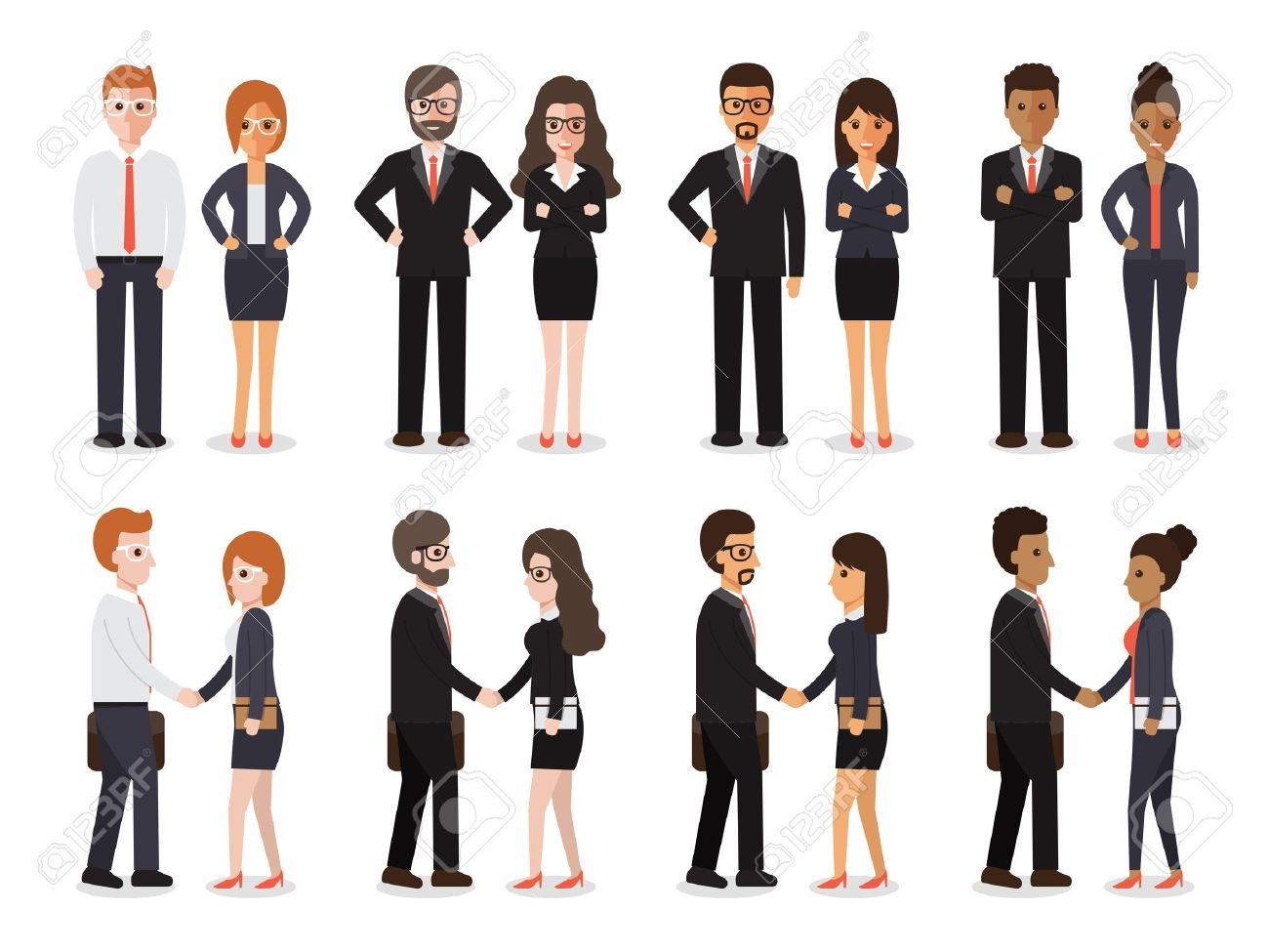 Group of people at work with handshaking on white background. Flat design characters. - 54712001