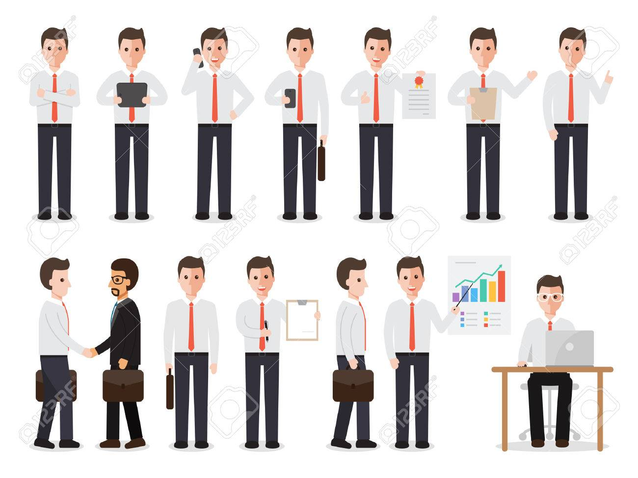 set of working people on white background. businessman people in flat design characters. - 58232661