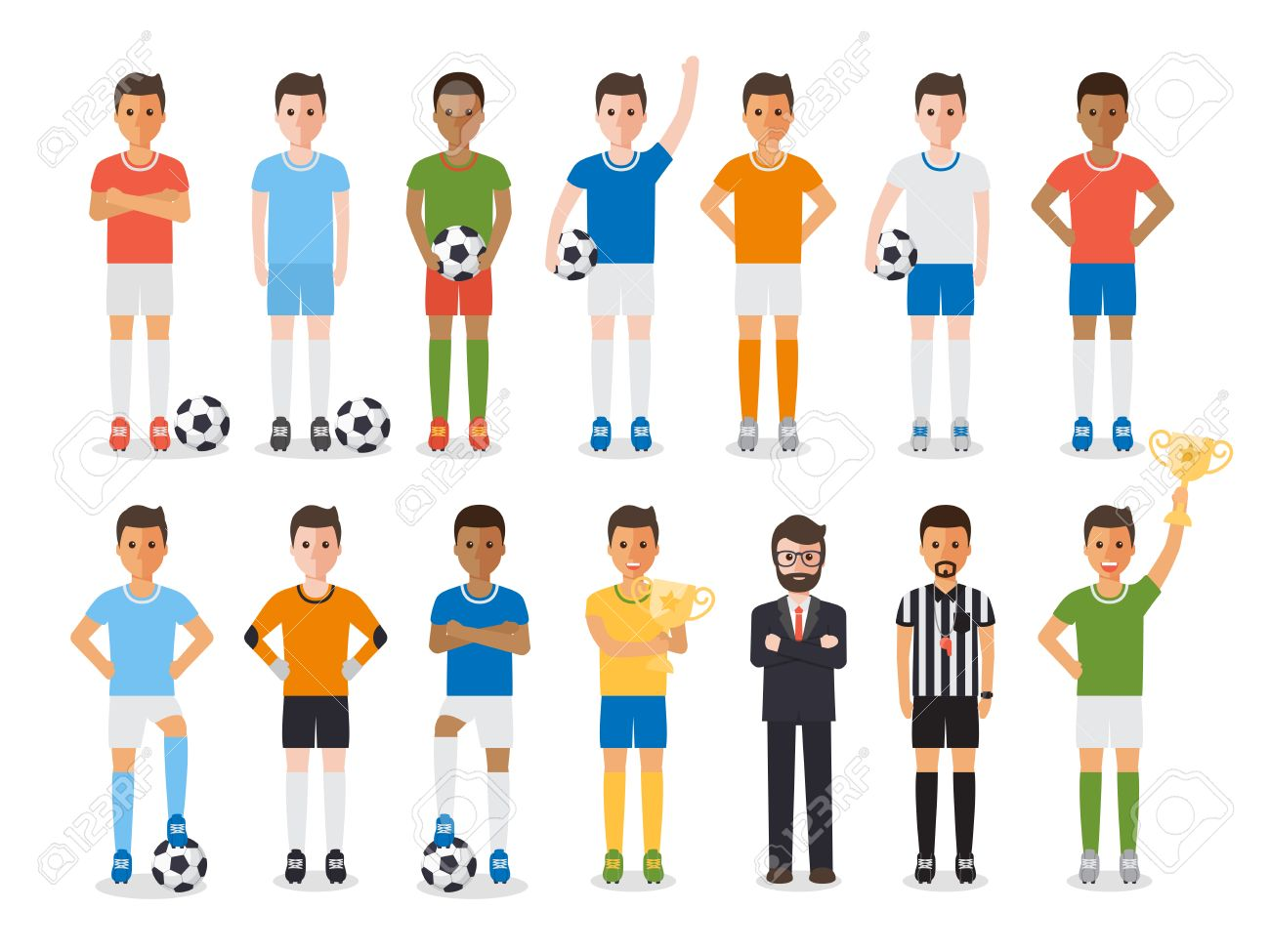 Soccer sport athletes, football players, soccer team manager and football referee. Flat design characters. - 58801823