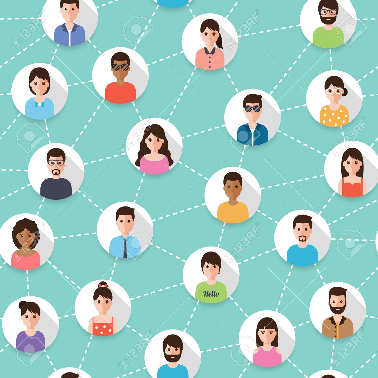Connected people and social network seamless pattern. Flat design people characters. - 61380107