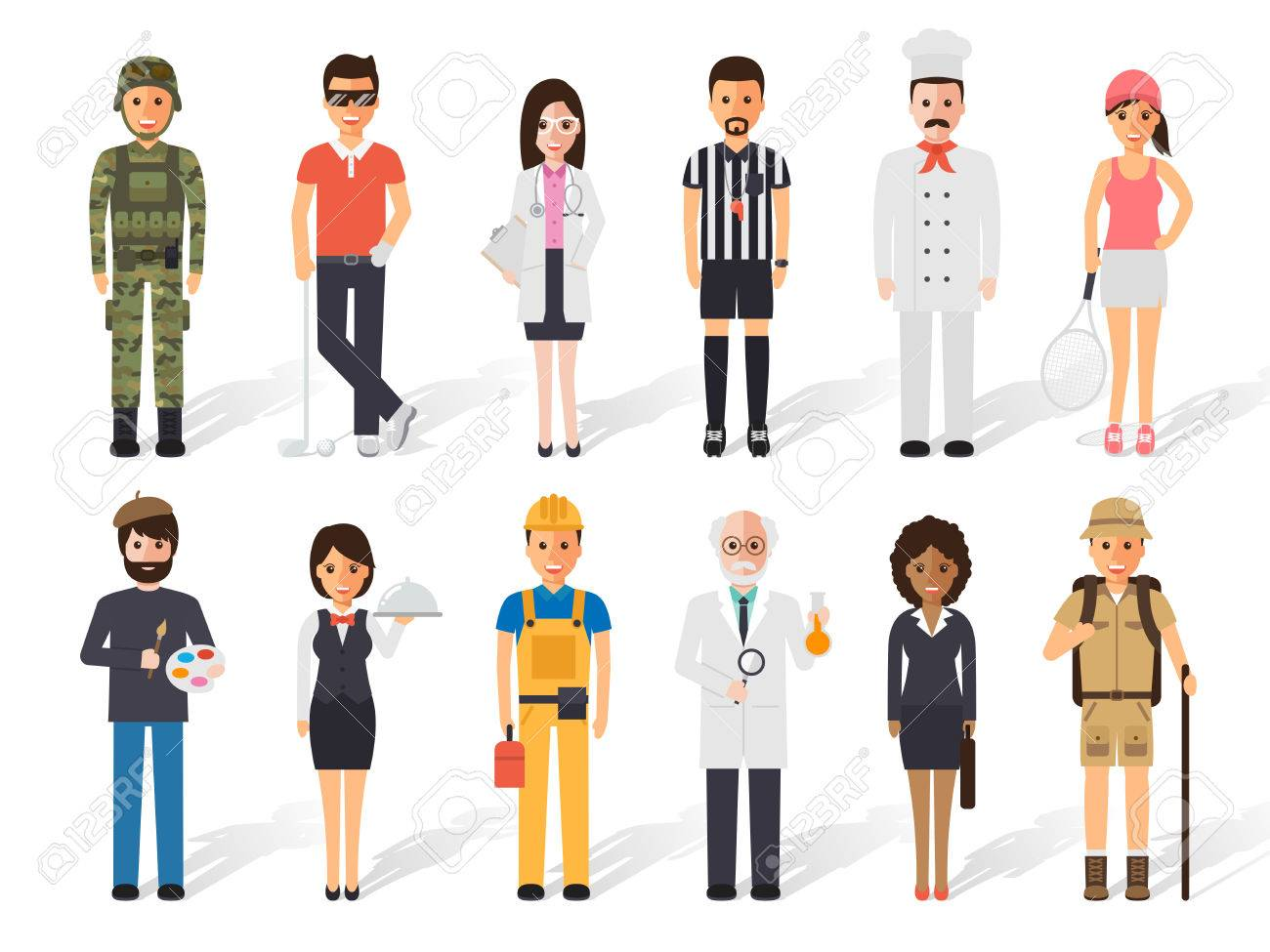set of diverse occupation profession people flat design people royalty free cliparts vectors and stock illustration image 65185293 set of diverse occupation profession people flat design people