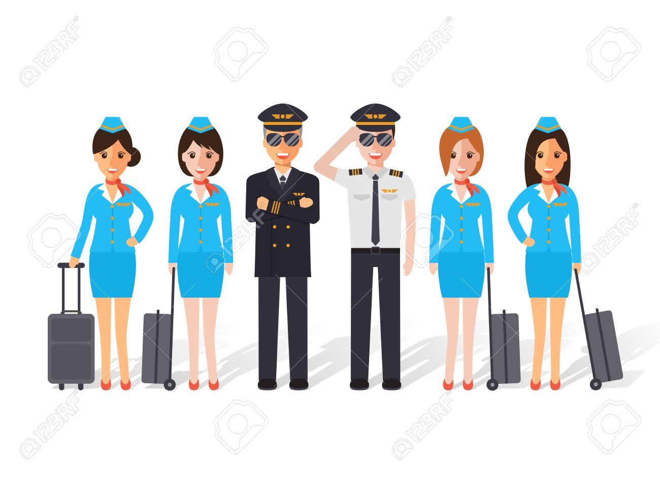 Group of pilots and flight attendants, air hostess  Flat design