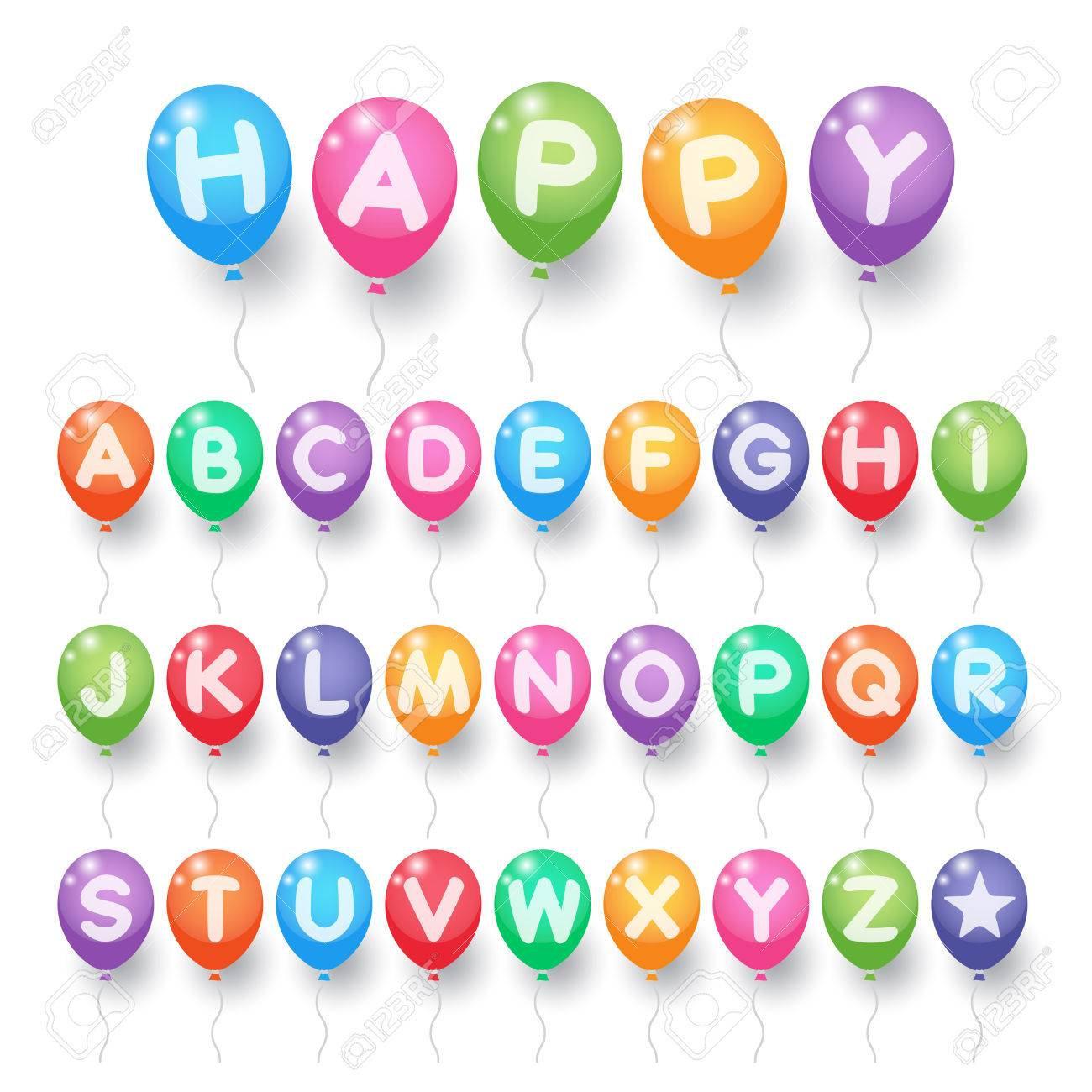 Colorful Capital Alphabet Letter A To Z Balloons On White Background For Birthday