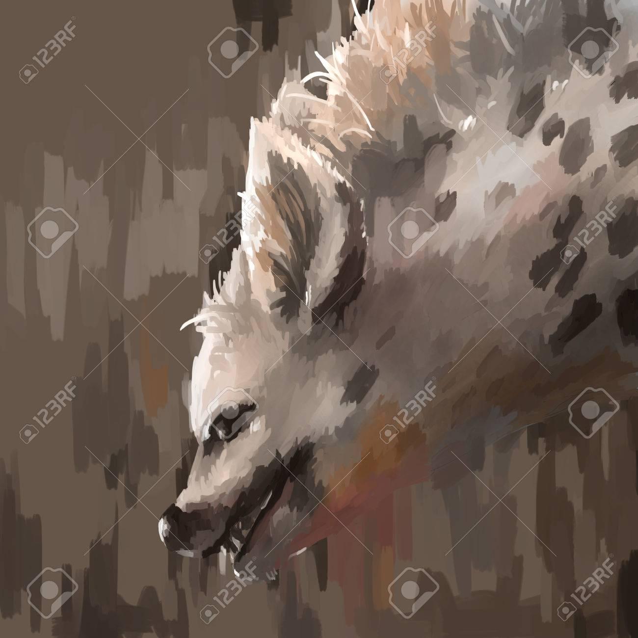 illustration digital painting animal hyena - 55105530