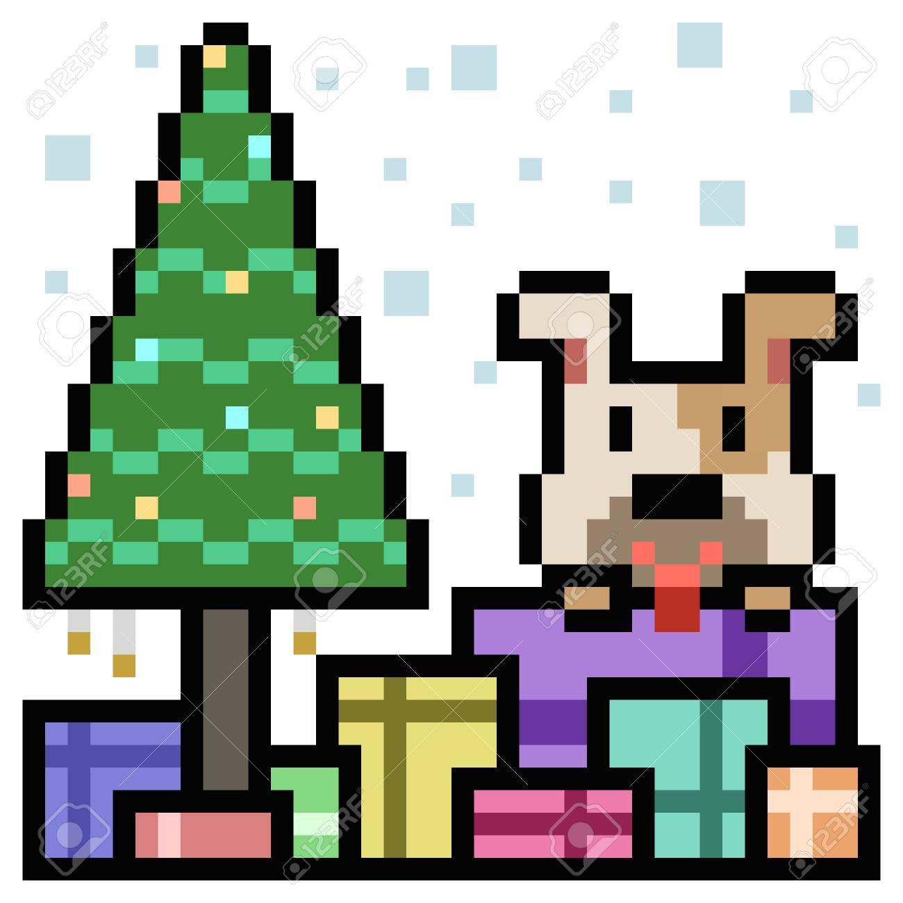 Pixel Art Boîte Cadeau Chien