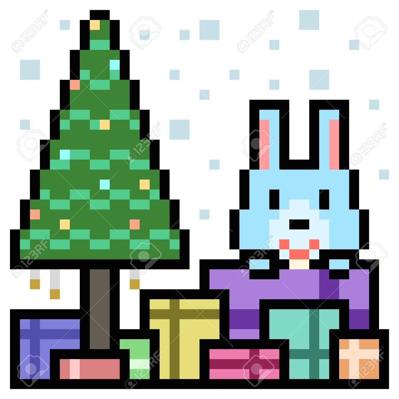 Boîte De Cadeau De Lapin Art De Pixel