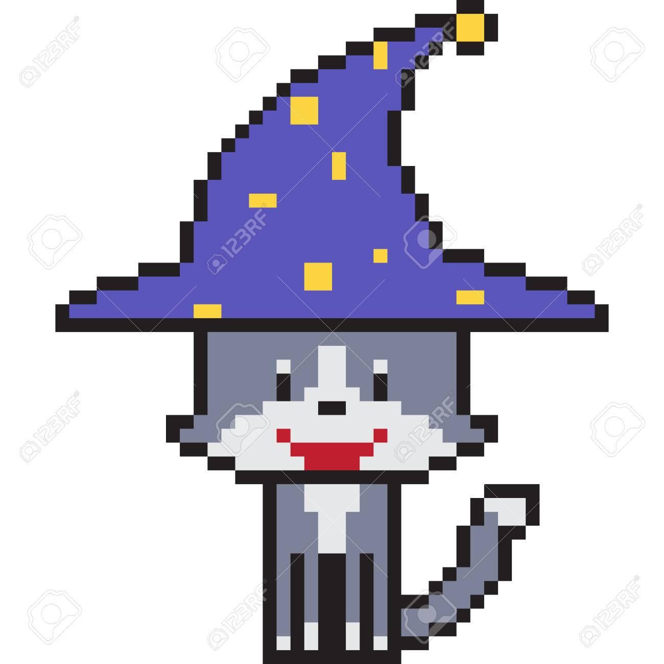 Vecteur Pixel Art Dessin Animé Sorcière Chat Isolé