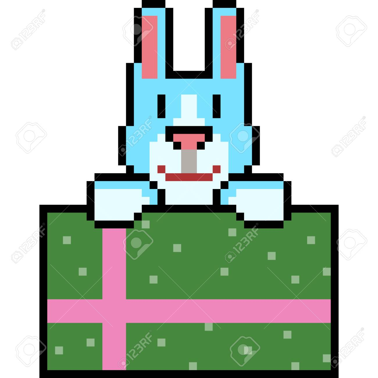 Vector Pixel Art Rabbit Gift Isolated