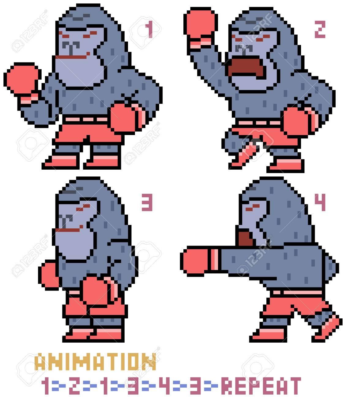 vector pixel art gorilla animation frame isolated - 82884037