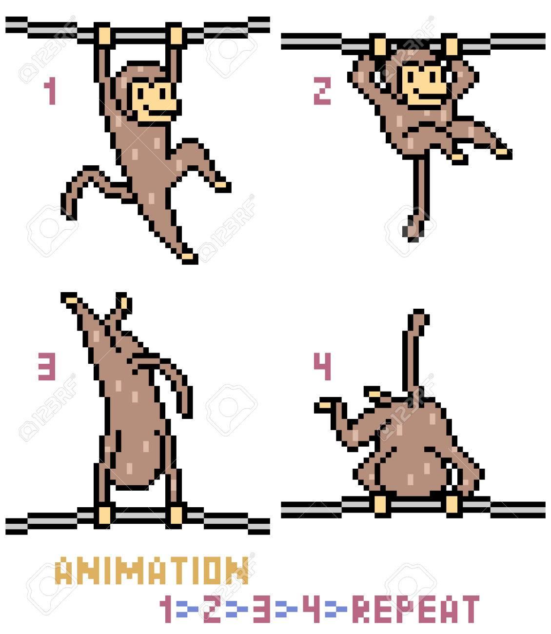 Vector Pixel Art Monkey Animation Frame Isolated Royalty Free ...