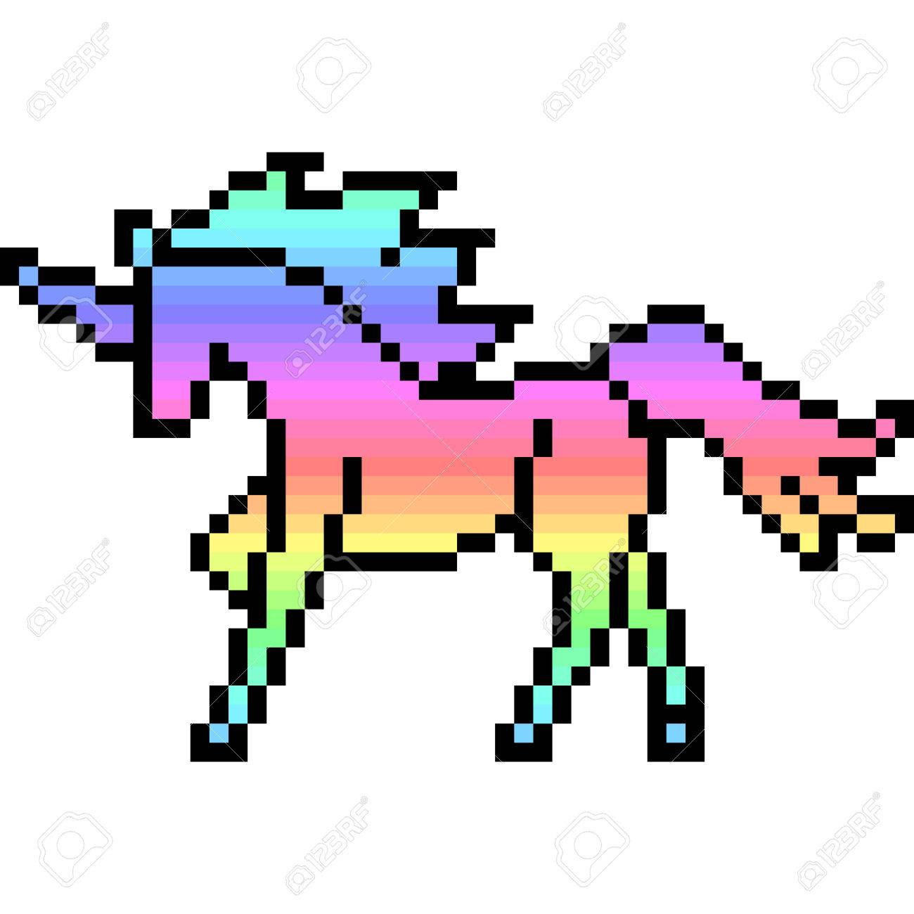 Pixel Art Unicorn Isolé