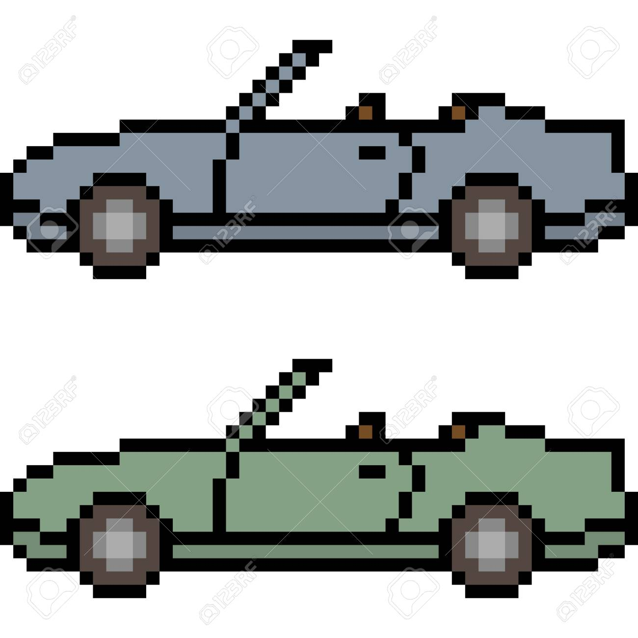 Vector Pixel Art Car Isolated