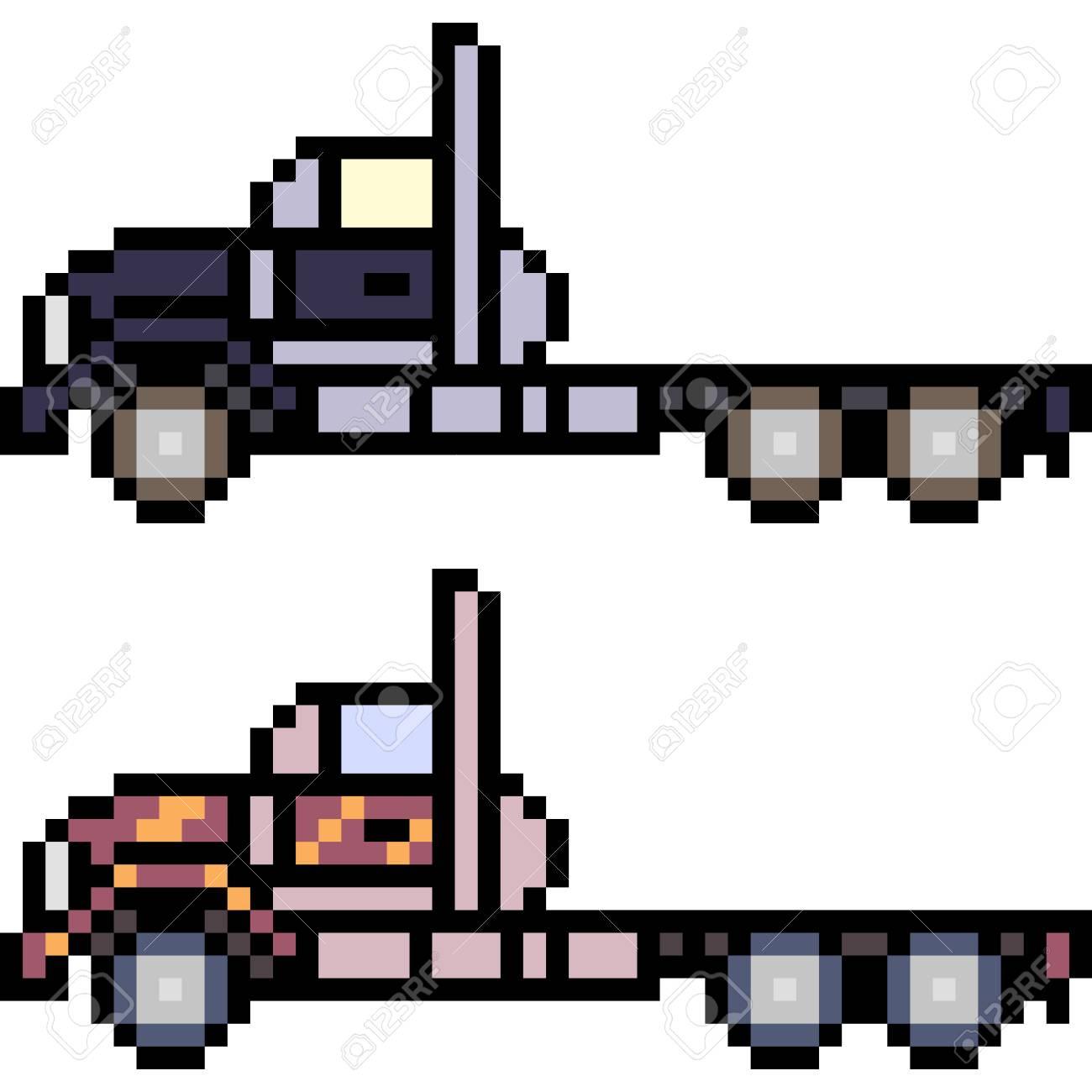 Vecteur Pixel Art Voiture Isolé