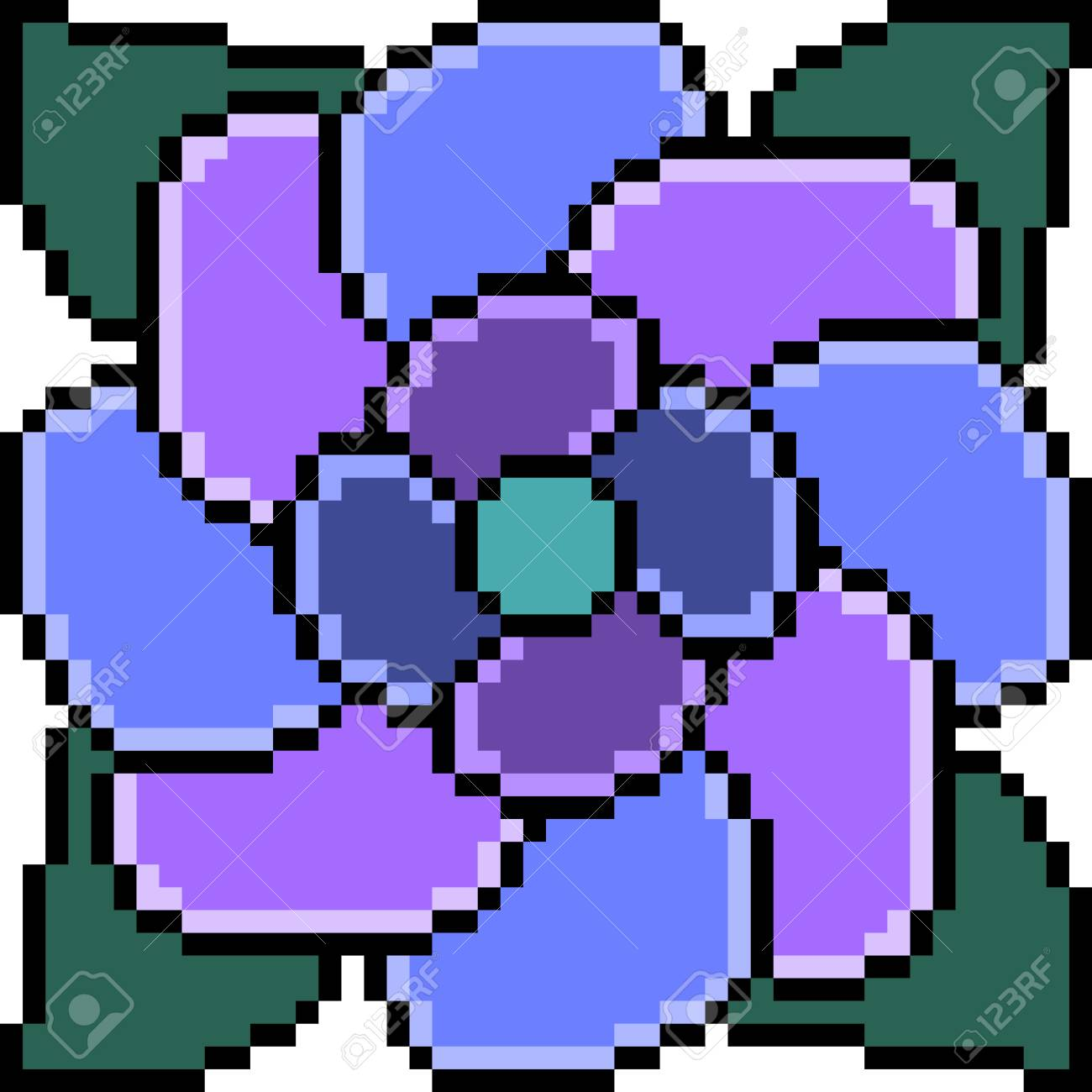 Vector Pixel Art Flower Isolated