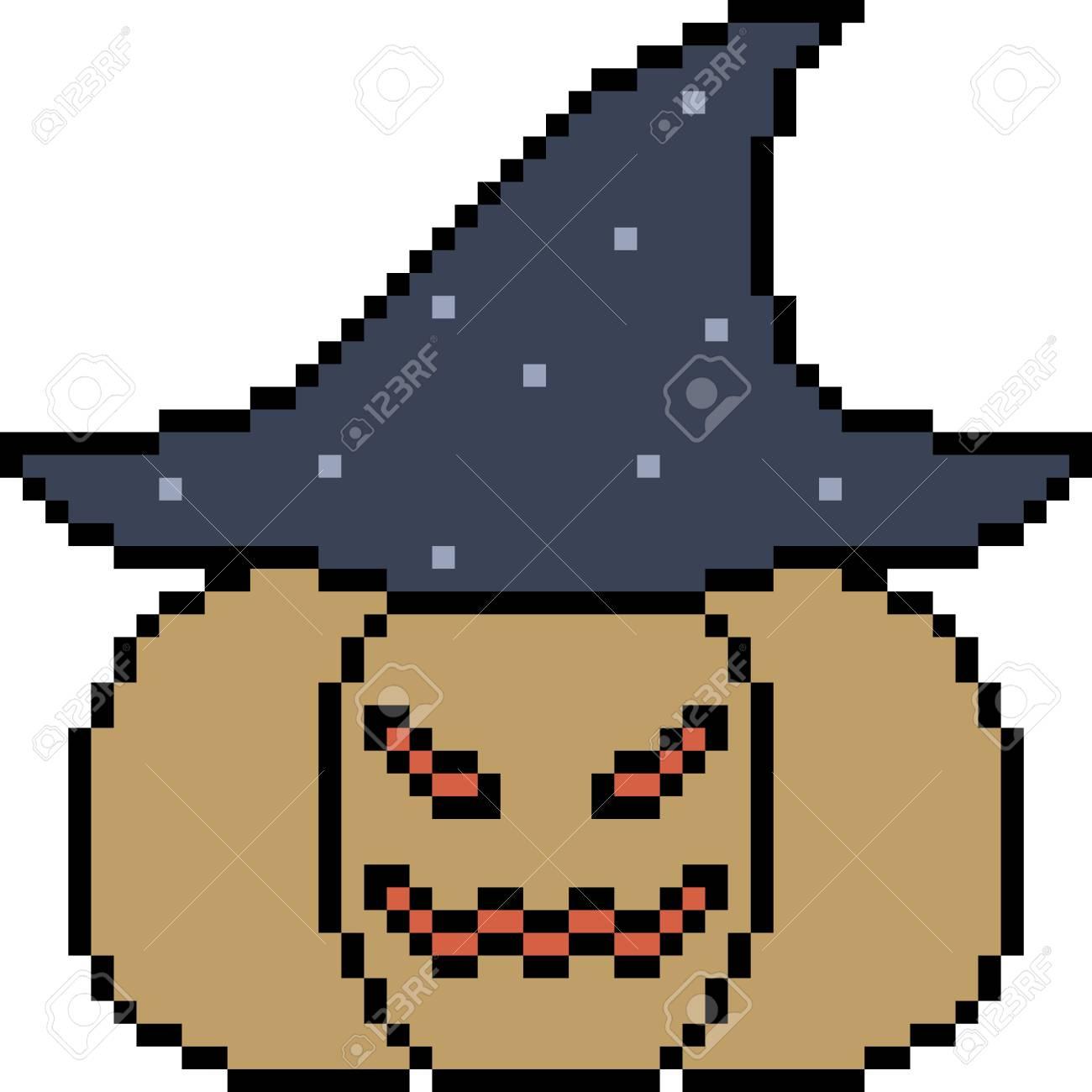 Vector Pixel Art Pumpkin Halloween Isolated