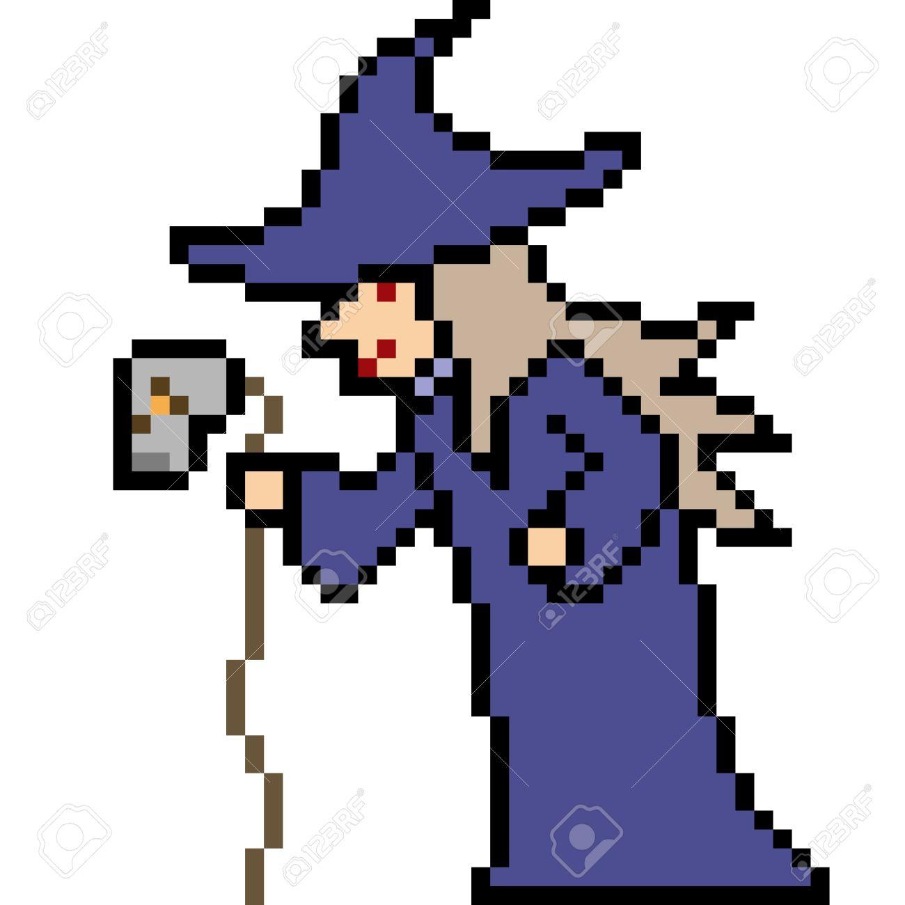 Pixel Art Halloween Sorcière Isolé