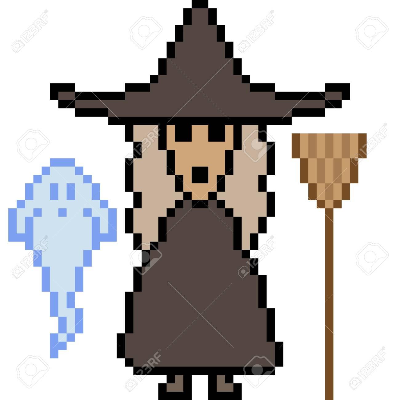 Vecteur Pixel Art Halloween Sorcière Isolé