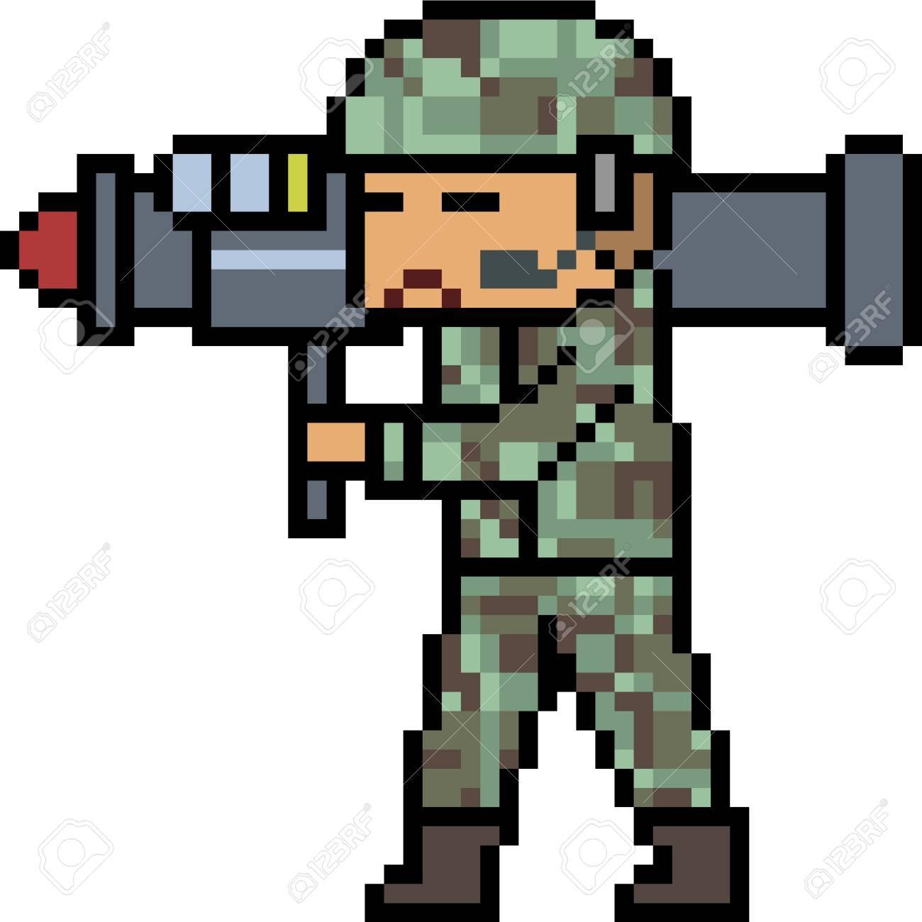 Vecteur Pixel Art Bazooka Armée Isolé