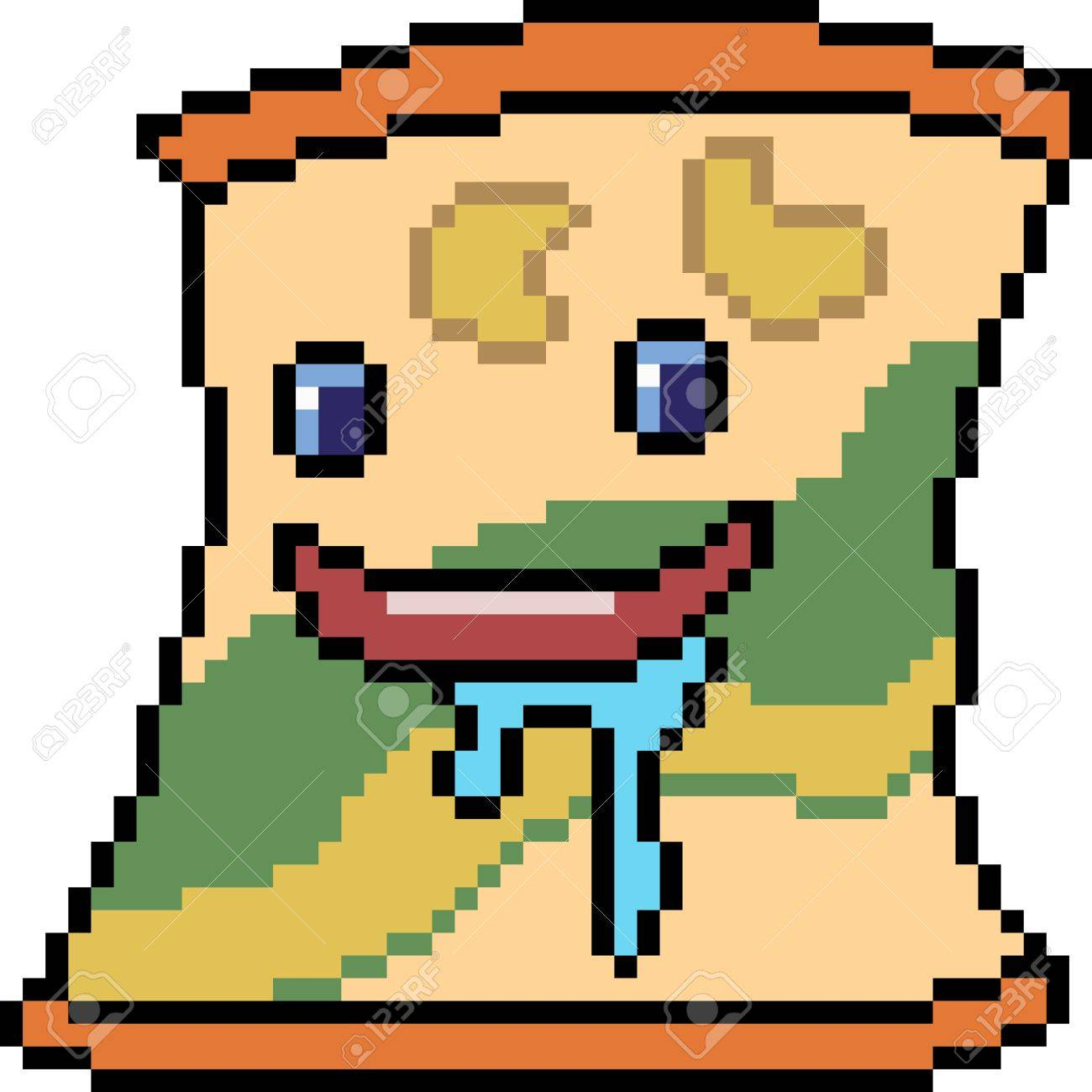 Vector Pixel Art Monster Chip Isolated