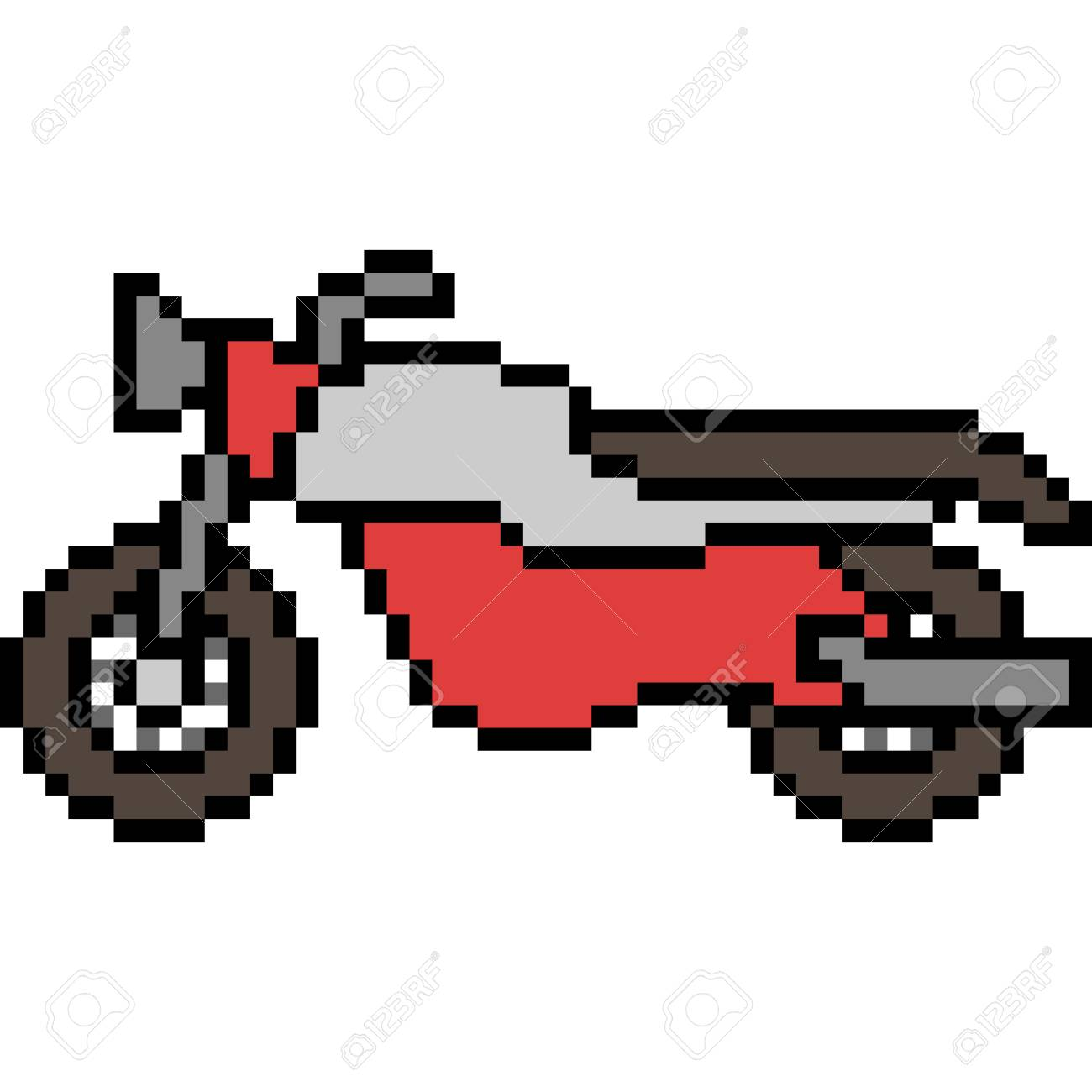 Vector Pixel Art Motorcycle Isolated