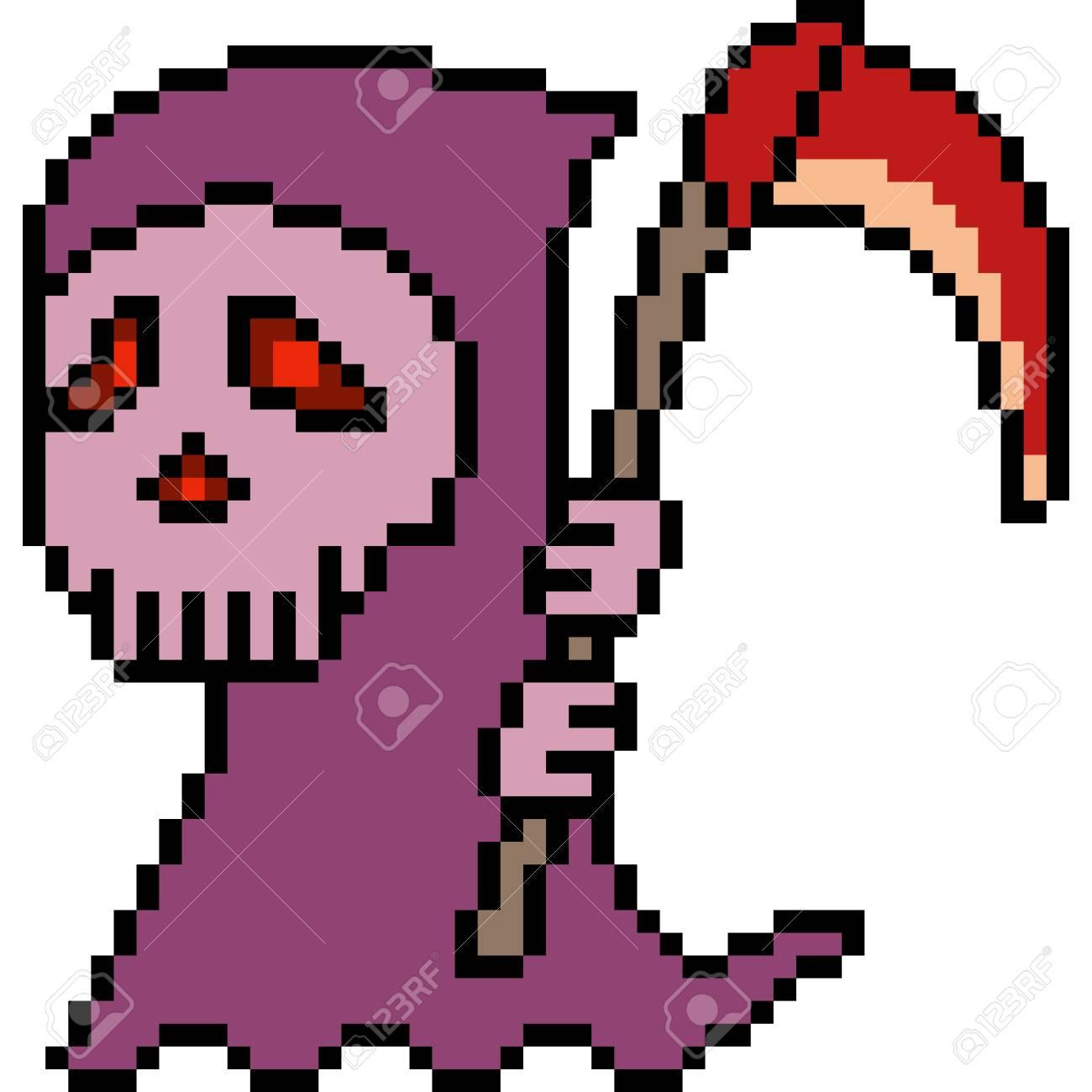 Vector Pixel Art Reaper Isolated
