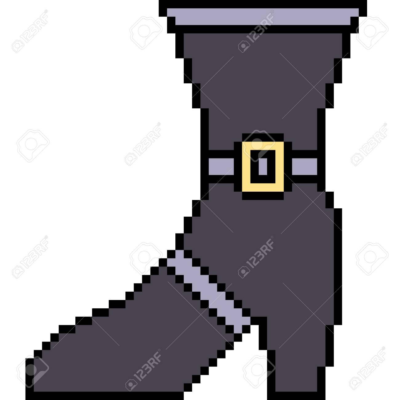 vector pixel art boot isolated