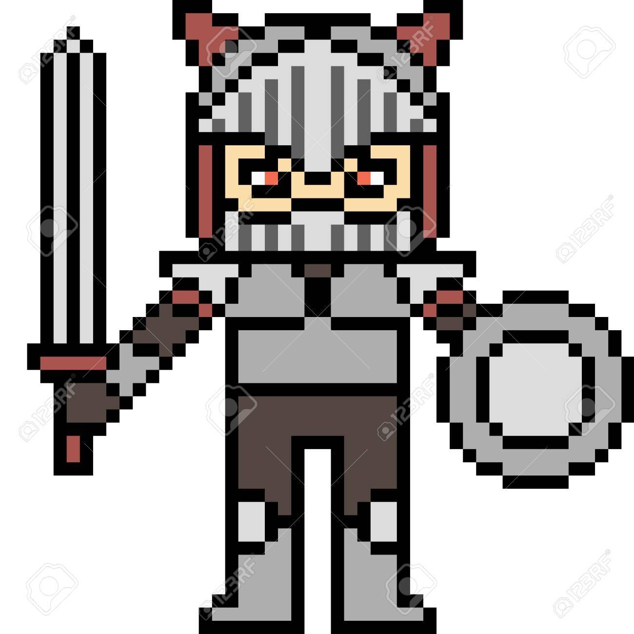 Vecteur Pixel Art Chevalier Isolé