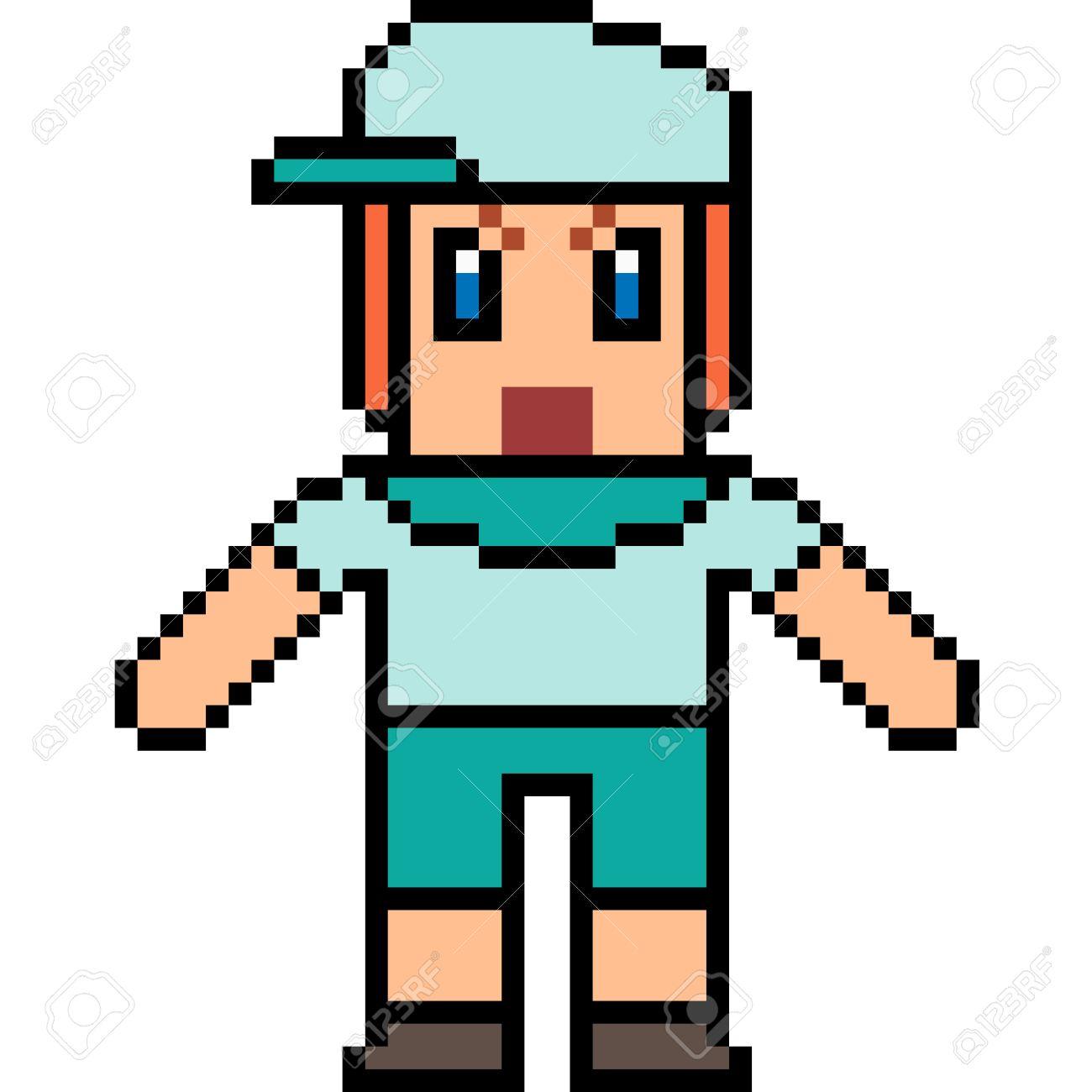 Vecteur Pixel Art Garçon Isolé