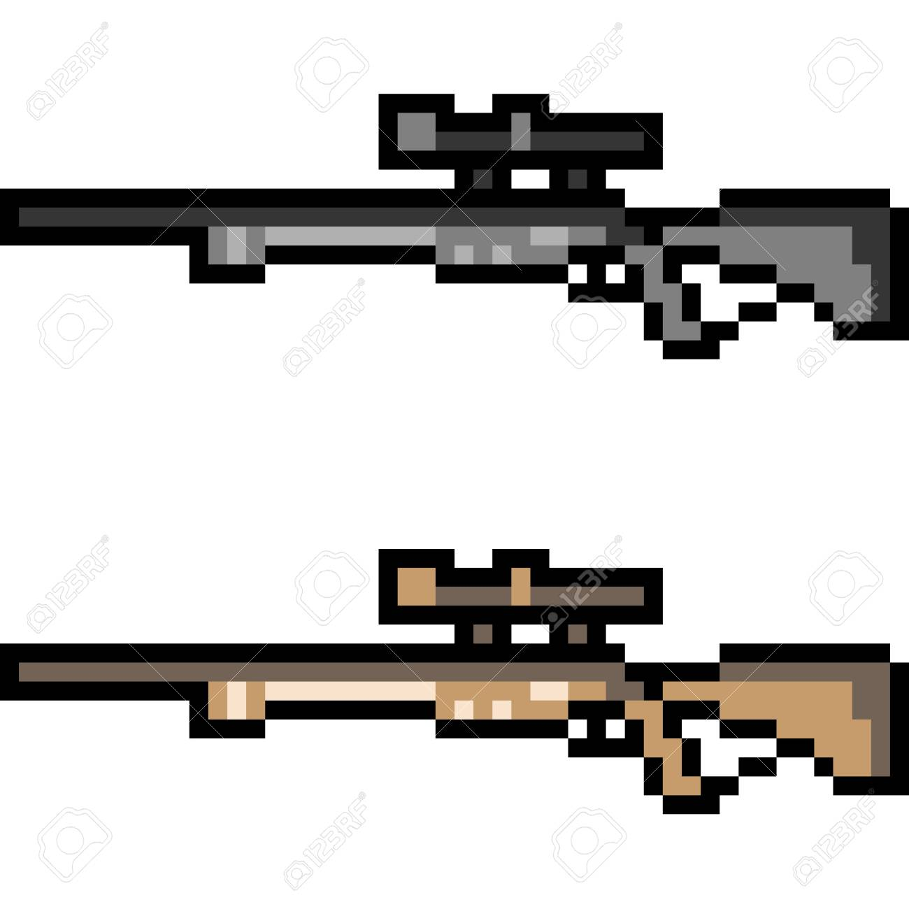 a pixel art sniper illustration - fortnite pixel art arme