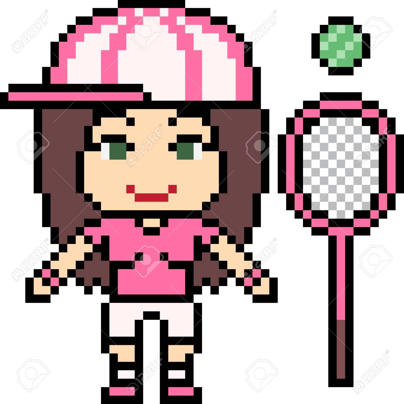 Vector Pixel Art Tennis Girl Isolated