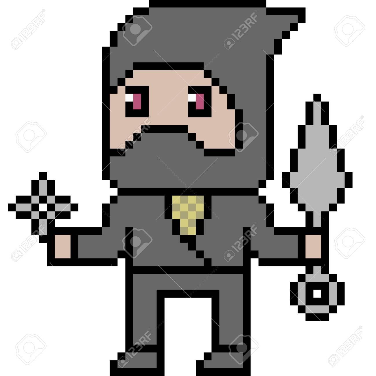 Vector Pixel Art Ninja Isolated
