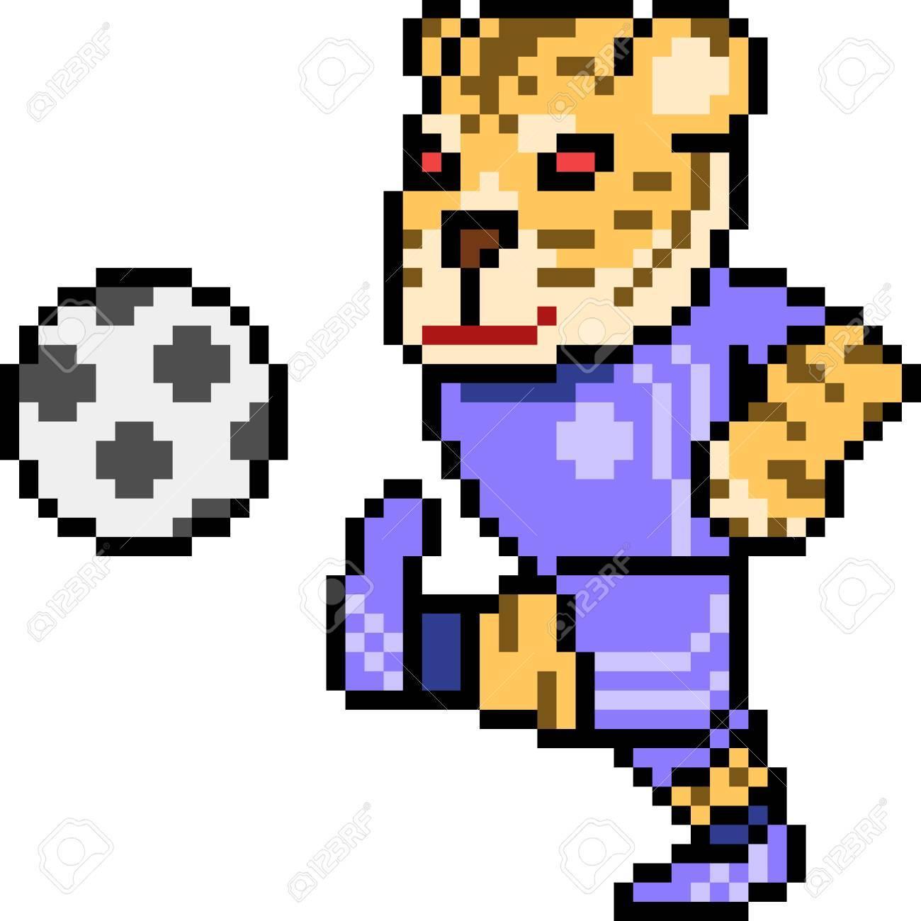 Football De Tigre Vectoriel Pixel Isolé
