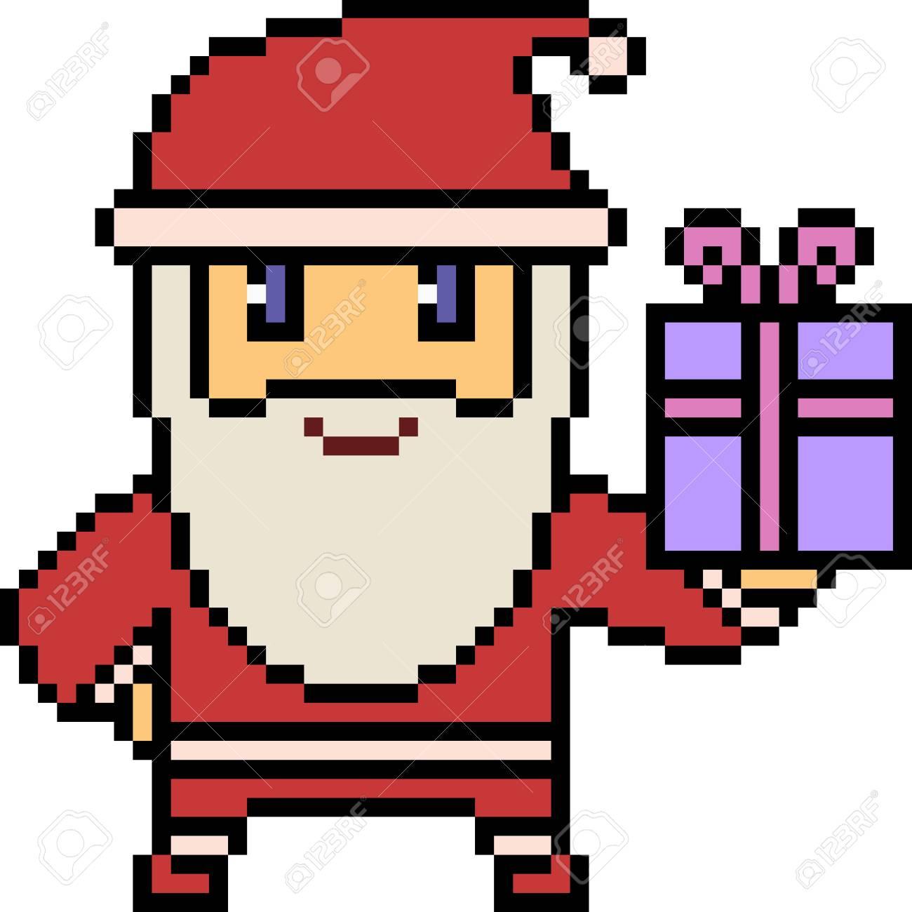 Pixel Art Illustration Du Père Noël Tenant Une Boîte De Cadeau