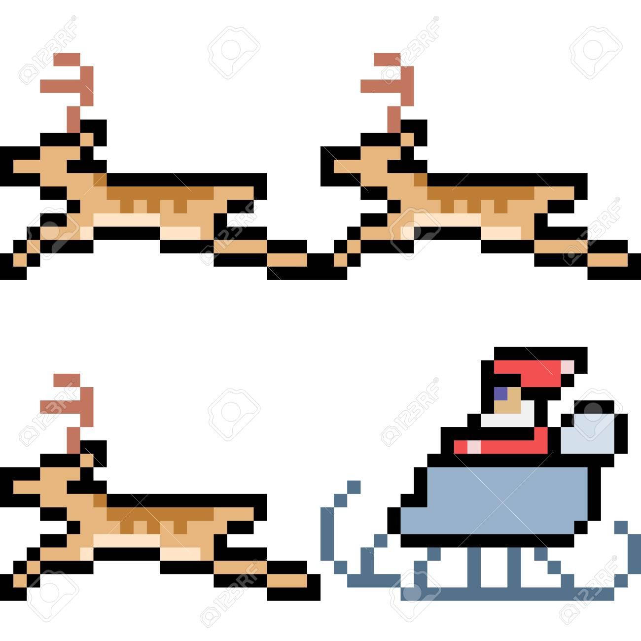 Pixel Art Illustration Of Santa With Reindeers
