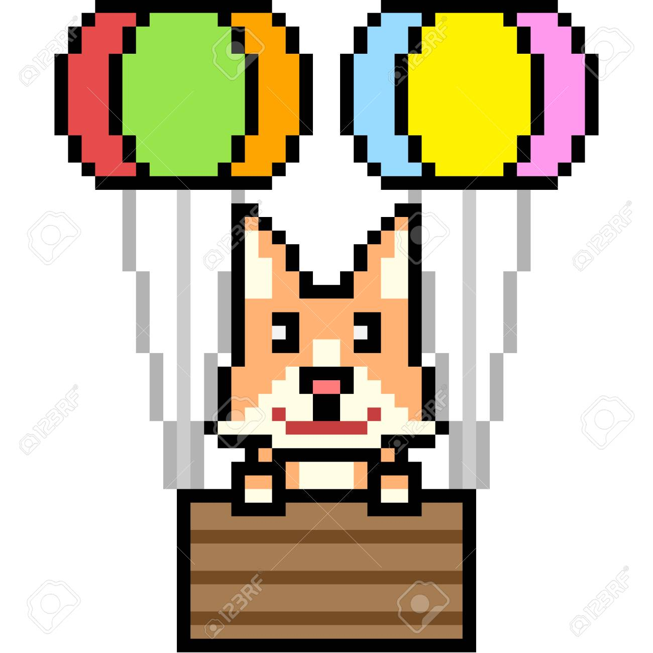 Vector Pixel Art Cat Balloon Isolated