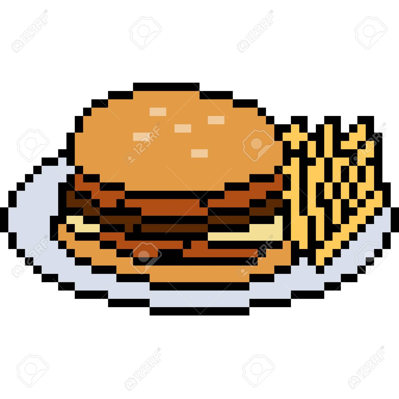 Vector Pixel Art Food Burger Isolated