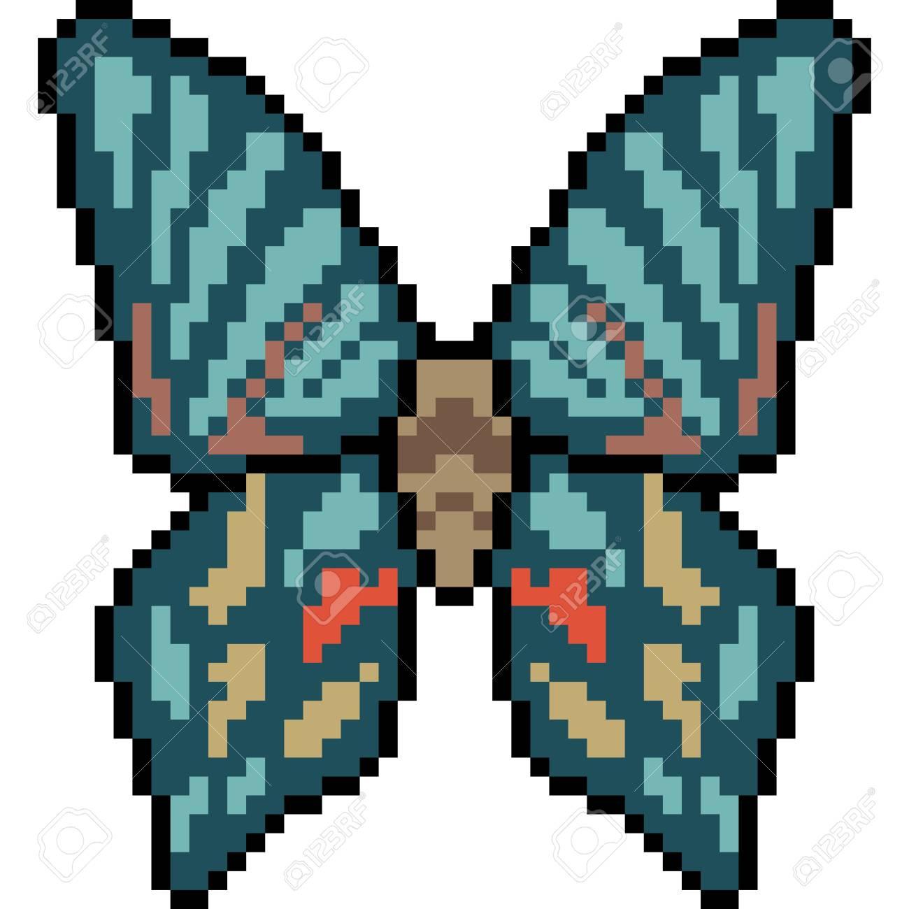 Vecteur Pixel Art Papillon Isole Clip Art Libres De Droits Vecteurs Et Illustration Image 90246386