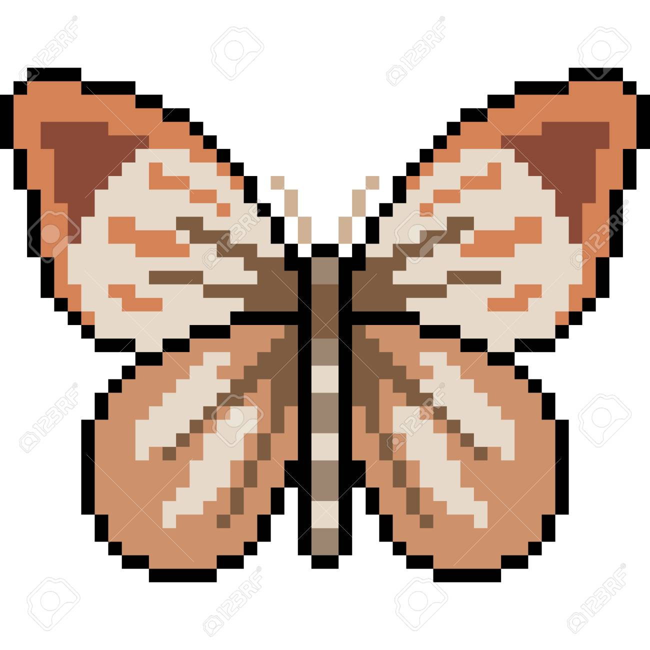 Vector Pixel Art Butterfly Isolated