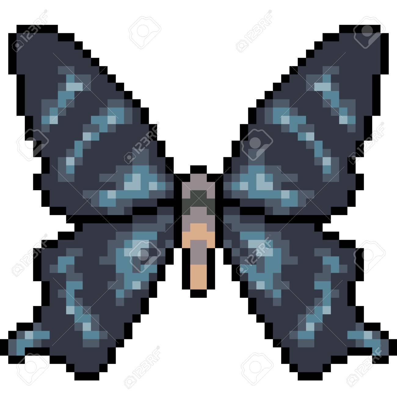 Vecteur Pixel Art Papillon Isolé Clip Art Libres De Droits