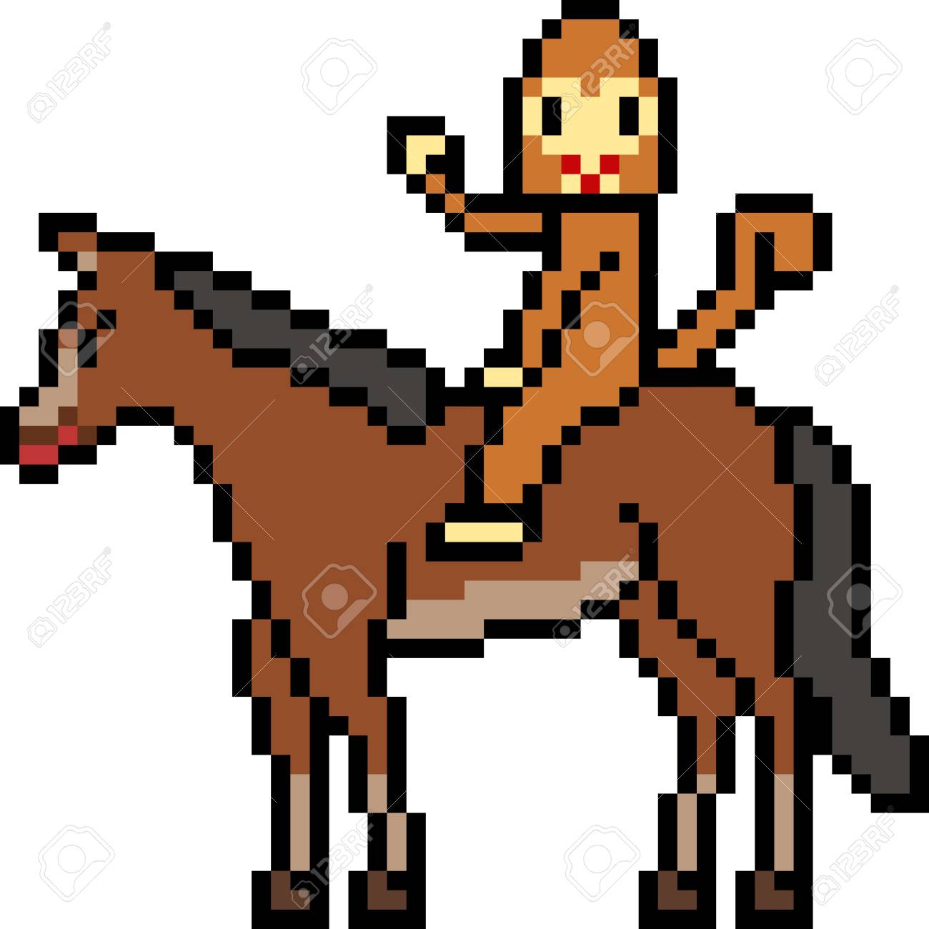 Vector Pixel Art Monkey Ride Horse Isolated