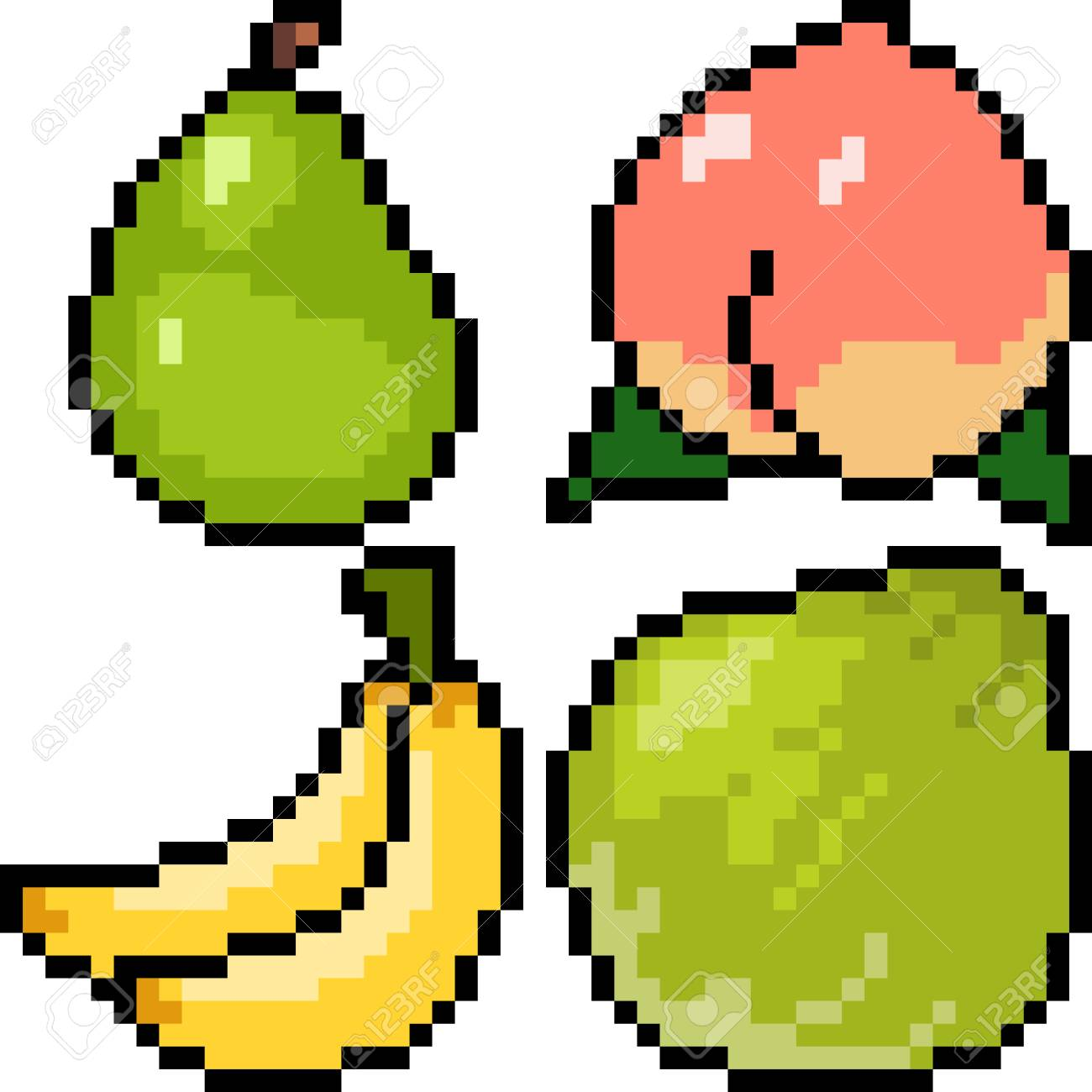 Vector Pixel Art Fruit Isolated Royalty Free Cliparts Vectors And Stock Illustration Image 90923411