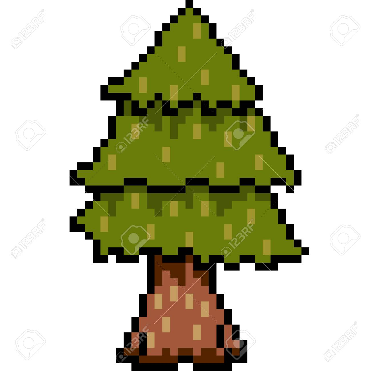 90923420-vector-pixel-art-tree-isolated Pixel Art Tree @koolgadgetz.com.info
